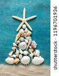 christmas tree made from sea... | Shutterstock . vector #1196701936
