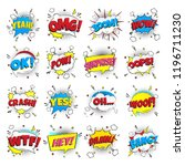 16 comic lettering set in the... | Shutterstock .eps vector #1196711230