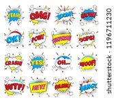 16 comic lettering set in the... | Shutterstock .eps vector #1196711230