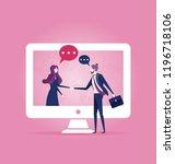businessmen shake hands through ... | Shutterstock .eps vector #1196718106