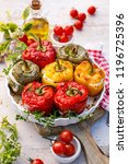 baked bell peppers stuffed.... | Shutterstock . vector #1196725396