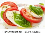 caprese salad with mozzarella ... | Shutterstock . vector #119673388