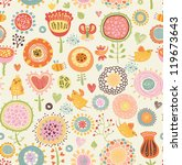 Stock vector floral seamless pattern with flowers and birds 119673643