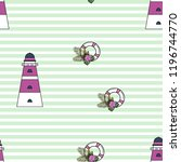 marine seamless pattern with a... | Shutterstock .eps vector #1196744770