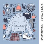 hand drawn fashion illustration.... | Shutterstock .eps vector #1196761276