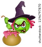 witch emoticon stirring her... | Shutterstock .eps vector #1196797870