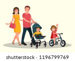 mom and dad with a baby in a... | Shutterstock .eps vector #1196799769