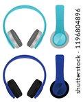 blue headphones. vector... | Shutterstock .eps vector #1196804896