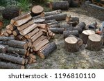 pile of wood ready for the... | Shutterstock . vector #1196810110