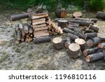 pile of wood ready for the... | Shutterstock . vector #1196810116