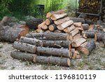 pile of wood ready for the... | Shutterstock . vector #1196810119