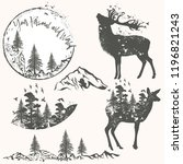 forest collection of vector... | Shutterstock .eps vector #1196821243