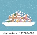the town in the snow falling...   Shutterstock .eps vector #1196824606