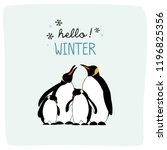 hello winter with cute penguin... | Shutterstock .eps vector #1196825356