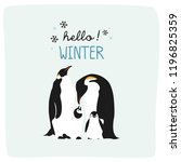 hello winter with cute penguin... | Shutterstock .eps vector #1196825359