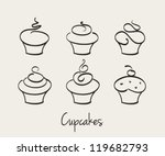 cupcake set hand drawn vector | Shutterstock .eps vector #119682793
