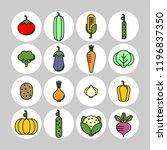 vegetables flat vector icons... | Shutterstock .eps vector #1196837350
