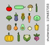 vegetables flat vector icons... | Shutterstock .eps vector #1196837353