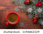 red cup of coffee and fir... | Shutterstock . vector #1196862229