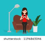 woman chatting on mobile social ... | Shutterstock .eps vector #1196865046