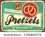 daily fresh hot pretzels retro... | Shutterstock .eps vector #1196869276