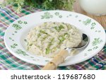 Cabbage and mashed potatoes on a plate on the table - stock photo