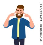 man covering ears with fingers... | Shutterstock .eps vector #1196887756