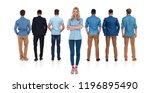 casual female leader stands on... | Shutterstock . vector #1196895490