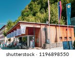 Vaduz, Liechtenstein, 16th August 2018:- The tourist information centre loacted in central Vaduz, the capital of Liechtenstein - stock photo
