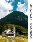 Steg, Liechtenstein, 20th August 2018:- The small church in the central village of Steg on the road to Malbun the only ski resort in Liechtenstein - stock photo