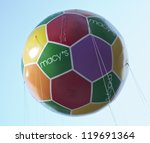NEW YORK - NOVEMBER 22: Macy's soccer balloon is flown at the 86th Annual Macy's Thanksgiving Day Parade on November 22, 2012 in New York City. - stock photo