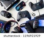 gamer workspace concept  top... | Shutterstock . vector #1196921929