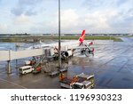 qantas airplane at perth... | Shutterstock . vector #1196930323