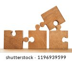 four brown wooden pieces of... | Shutterstock . vector #1196939599
