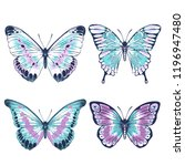 Stock vector vector vintage hand drawn set of beautiful colorful butterflies on a white background pink and 1196947480
