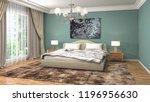 bedroom interior. 3d... | Shutterstock . vector #1196956630