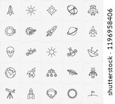 astronomy line icon set with... | Shutterstock .eps vector #1196958406