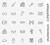 archeology line icon set with... | Shutterstock .eps vector #1196959069