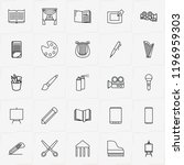 art line icon set with... | Shutterstock .eps vector #1196959303