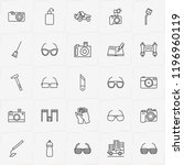 archeology line icon set with... | Shutterstock .eps vector #1196960119