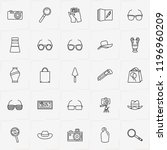archeology line icon set with... | Shutterstock .eps vector #1196960209