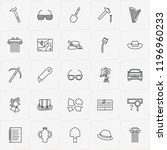 archeology line icon set with... | Shutterstock .eps vector #1196960233