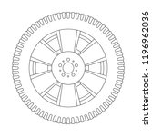 wheel with tyre. outline icon.... | Shutterstock .eps vector #1196962036