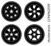wheel with tyres. black icons... | Shutterstock .eps vector #1196962039