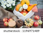 autumn festival decoration with ... | Shutterstock . vector #1196971489