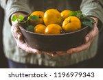 fresh tangerine in farmer's...   Shutterstock . vector #1196979343