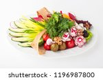 appetizer dish with fresh... | Shutterstock . vector #1196987800