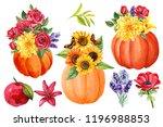 set compositions with pumpkins  ... | Shutterstock . vector #1196988853