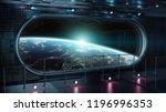 black tech spaceship round... | Shutterstock . vector #1196996353