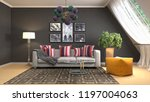 interior of the living room. 3d ... | Shutterstock . vector #1197004063